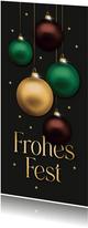 Weihnachtskarte Firma elegante Weihnachtskugeln