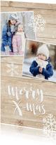 Weihnachtskarte 'merry x-mas' zwei Fotos auf Holz