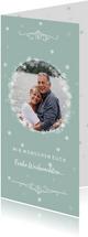 Weihnachtskarte mit Foto und Schneeflocken