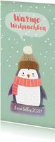 Weihnachtskarte Pinguin mit Schal