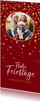 Weihnachtskarte rundes Foto und Sterne