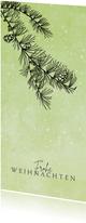 Weihnachtskarte Tannenzweig und Schnee