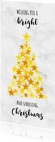 Zakelijk goud kerstboom op marmer