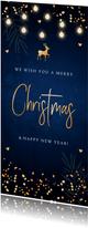 Zakelijke kerstkaart donkerblauw lampjes confetti goudlook