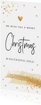 Zakelijke kerstkaart langwerpig wit goudlook confetti