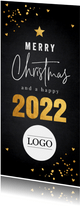Zakelijke kerstkaart langwerpig zwart goudlook confetti logo