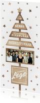 Zakelijke kerstkaart met logo, sterren en houten kerstboom