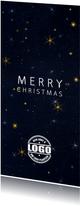 Zakelijke kerstkaart met logo sterren en sneeuw