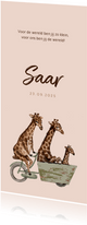 Zalmroze geboortekaartje met giraffen op een fiets