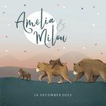 Geboortekaartje meisje tweeling dieren beren familie sterren
