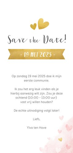 Communie Save the Date kaart met gouden en roze hartjes  3