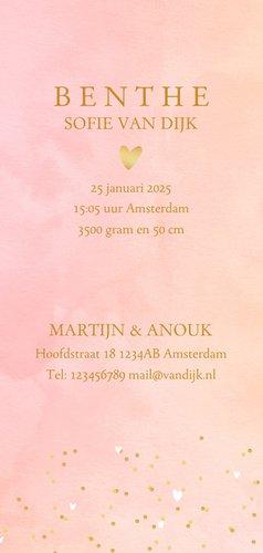 Geboortekaartje hartjes waterverf letter roze 3