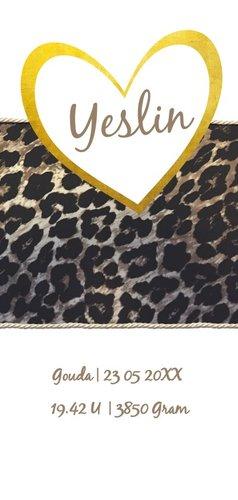 Geboortekaartje voor een meisje met dierenprint en goud 3