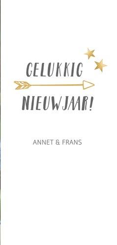 Langwerpige nieuwjaars fotokaart met wit en gouden confetti 3