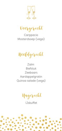 Langwerpige trouw menukaart met gouden stippen 3