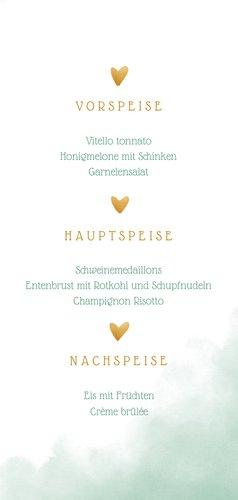 Menükarte Hochzeit Wasserfarbe und goldenen Herzen 3