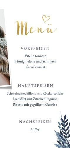 Menükarte zur Hochzeit dunkelblau Pflanzen & Foto 3
