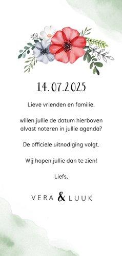 Save the date waterverf bloemen stijlvol foto groen hartje 3