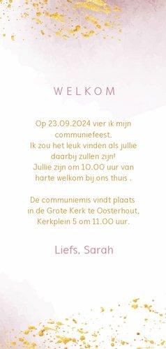 Uitnodiging voor communie met roze waterverf en goudspetters 3