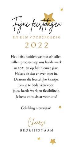 Zakelijke nieuwjaarskaart medewerkers hello 2022 bedankt 3