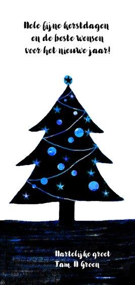 kerstkaart illustratie kerstboom winter wonderland Achterkant
