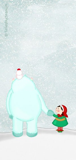 Kerstkaart kerstmis Yeti en kerst elfje 2