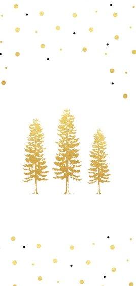 Kerstkaart met gouden kerstbomen 2