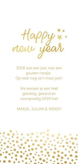Langwerpige nieuwjaarskaart met schuine foto Achterkant