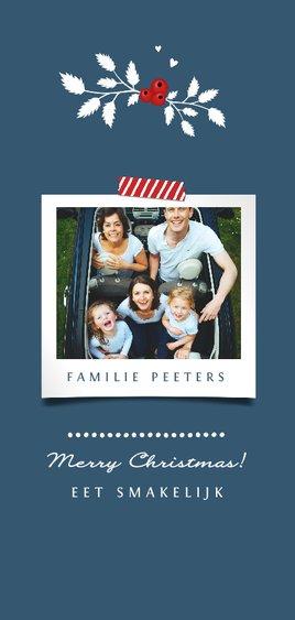 Menukaart kerstdiner stijlvol familie vrienden met foto Achterkant