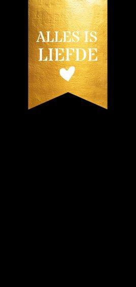 Stijlvolle nieuwjaarskaart gouden label grote foto Achterkant