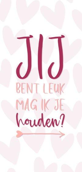 Valentijnskaart Jij bent leuk mag ik je houden? 2