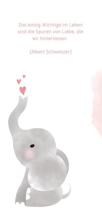 Aquarell Einladung zur Taufe rosa mit Foto und Elefant 2