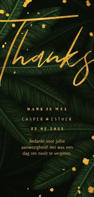 Bedankkaart jungle bladeren met gouden 'thanks' Achterkant