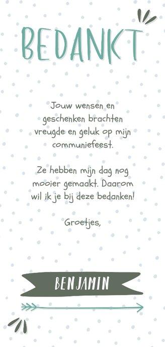 Bedankkaart typografisch met confetti en eigen foto jongen Achterkant