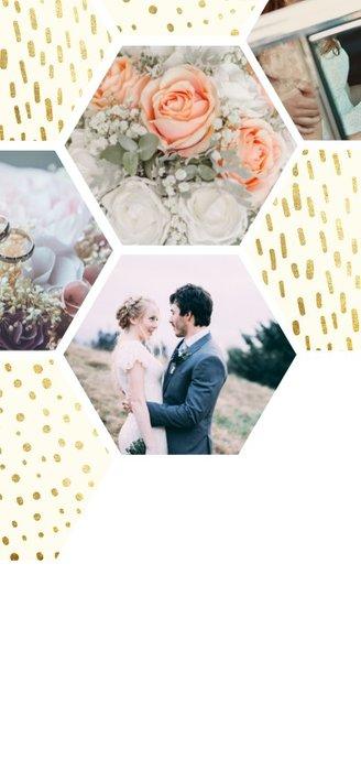 Bedankkaart zeshoek fotocollage met gouden confetti Achterkant