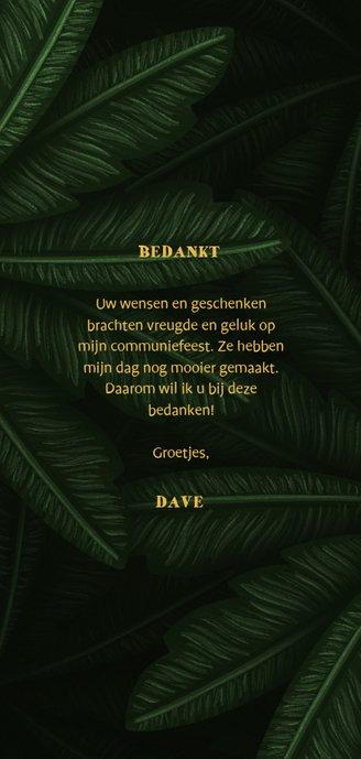 Bedankkaartje communie jungle bladeren met foto's Achterkant