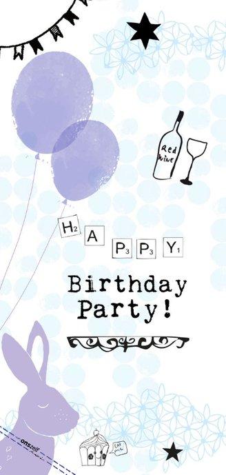 Birthday Party uitnodiging met foto, ballonnen en konijn 2