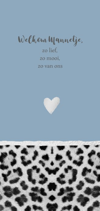 Blauw panterprint geboortekaartje langwerpig 2