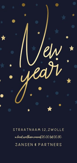 Borrel uitnodiging 'New Year' gouden sterren en confetti Achterkant