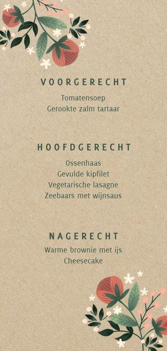 Botanische menukaart met bloemen, planten en kraftlook Achterkant