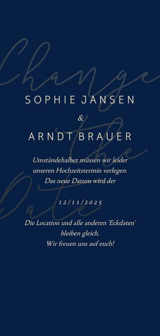 Change-the-Date-Karte Hochzeit Goldene Schrift Rückseite