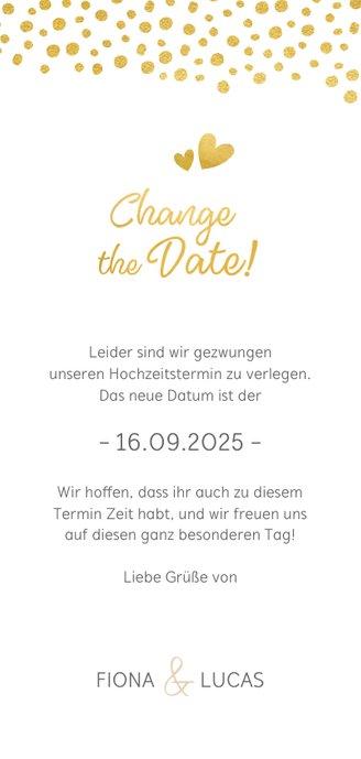 Change-the-Date-Karte mit Kalender und goldenen Herzen Rückseite