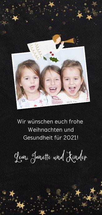 Christliche Weihnachtskarte mit zwei Engeln und Sternen Rückseite