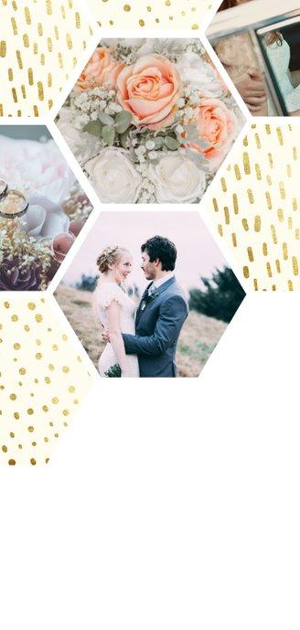 collage zeshoek fotocollage met gouden confetti Achterkant