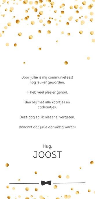 Communie confetti boy bedankt Achterkant