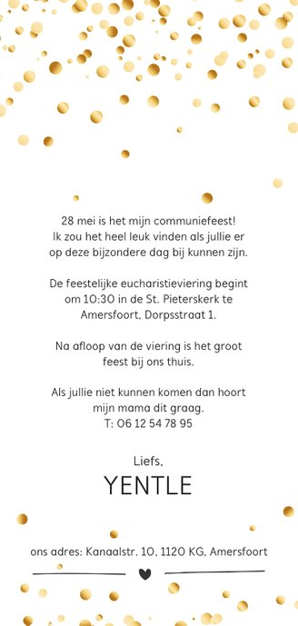 Communie confetti girl Achterkant