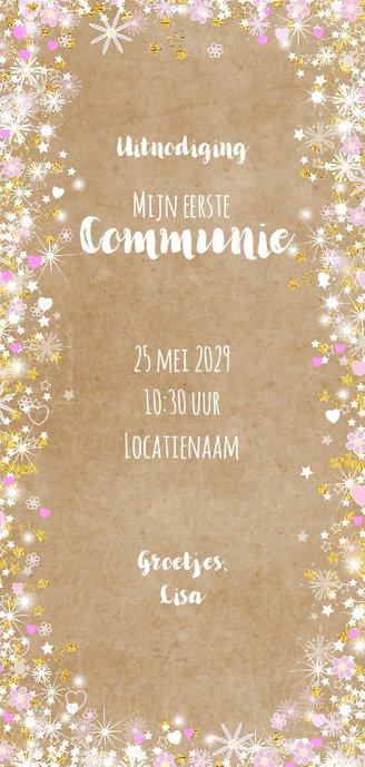 Communie fleurige stijlvolle uitnodiging kraft en hartjes Achterkant