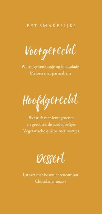 Communie fotokaart menu handschrift Achterkant