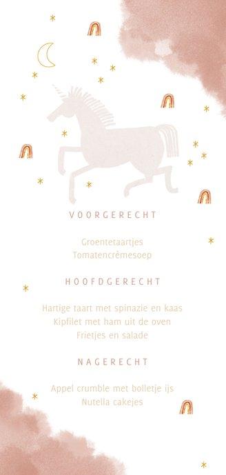 Communie menukaart stijlvol unicorn en regenboogjes Achterkant