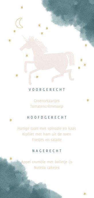 Communie menukaart stijlvol unicorn en waterverf Achterkant